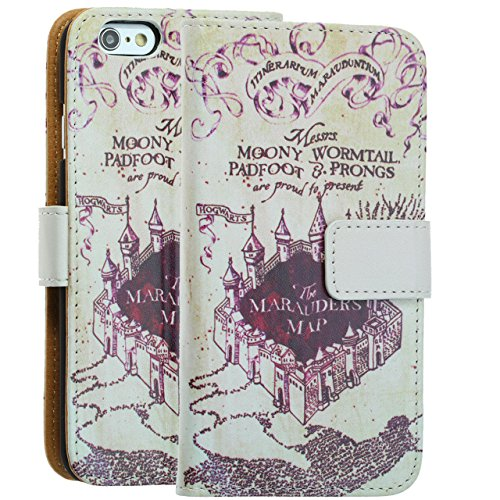 "Price comparison product image Apple Iphone 6S Plus Case, DURARMOR® Iphone 6S + Plus 5.5"" Harry Potter & Hogwarts Marauder's Map PU Leather Folio Wallet with ID, Credit Card, Cash Slots Flip Stand Cover Protector Carrying Case"