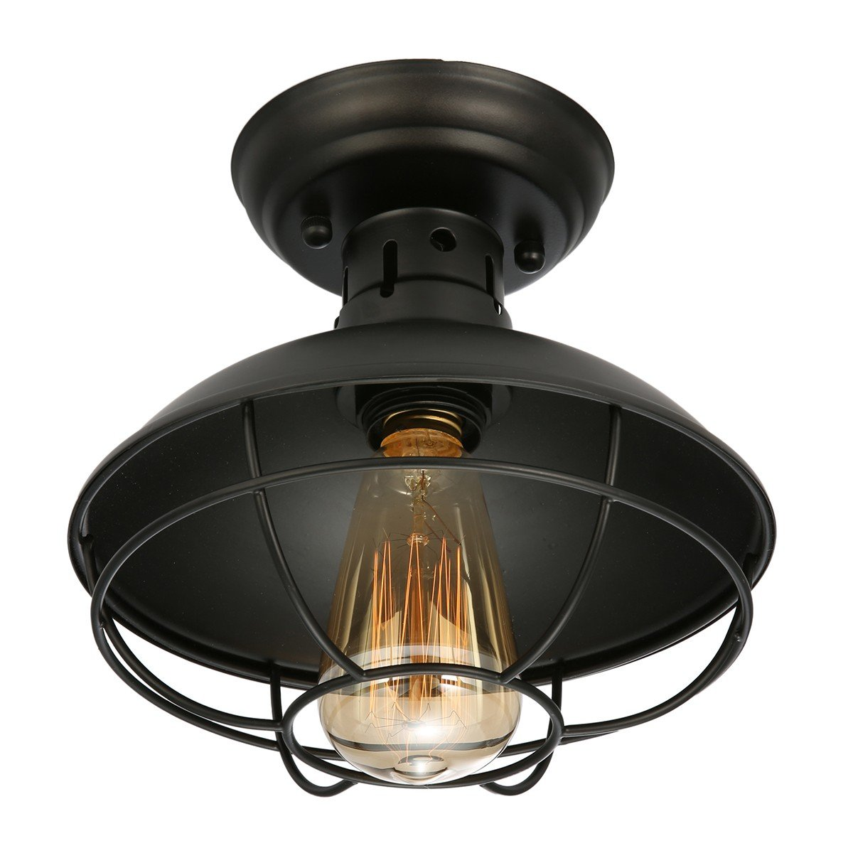 KingSo Industrial Metal Cage Ceiling Light, E26 Rustic Mini Semi Flush Mounted Pendant Lighting Dome/Bowl Shaped Lamp Fixture for Country Hallway Kitchen Garage Porch Bathroom by KINGSO (Image #1)