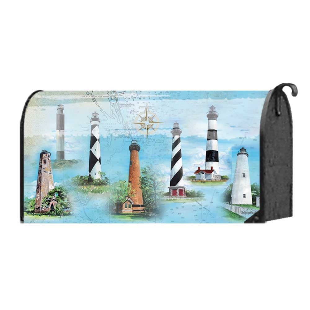 North Carolina Lights Map and Iconic Lighthouses 22 x 18 Standard Size Mailbox Cover