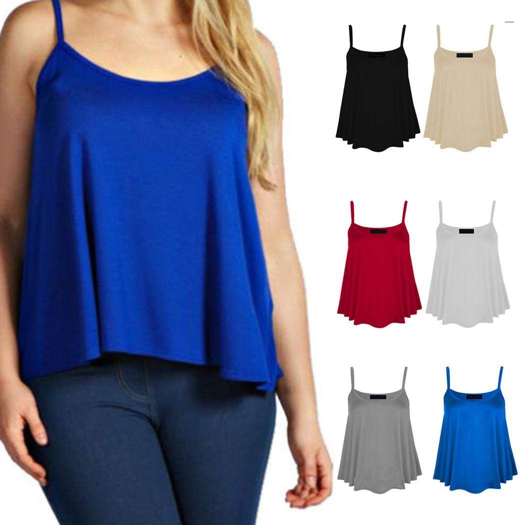 UpBeauty Women Casual Solid Sleeveless Loose Cami Summer Tank Tops Tanks & Camis S-XXXL White