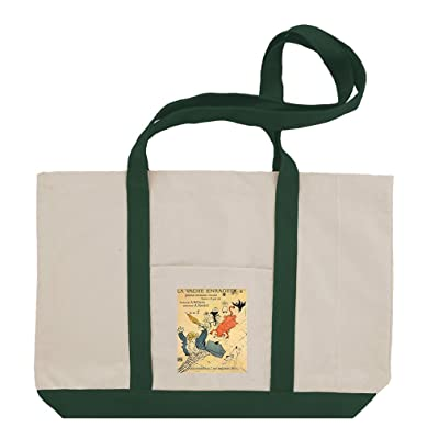well-wreapped La Vache Enragee #2 (Toulouse Lautrec) Cotton Canvas Boat Tote Bag Tote
