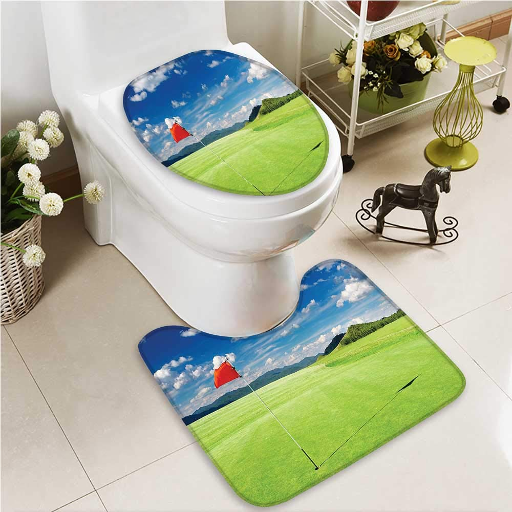 VROSELV Toilet carpet floor mat Nebula with Star Cluster in the Cosmos Universe Solar Celestial Zone Teal Red Pink 2 Piece Shower Mat set