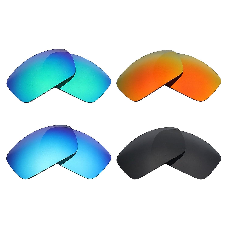 Mry 4paires polarisées Lentilles de remplacement pour Oakley Half Jacket Xlj Vented Sunglasses-stealth Noir/rouge Feu/ICE Bleu/argent Titane ZMBCLNJy
