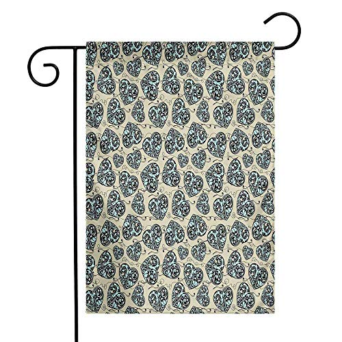 (Mannwarehouse Valentines Garden Flag Lace Pattern with Leaves and Swirled Lines Grunge Abstract Heart Shapes Love Premium Material W12 x L18 Aqua Tan Black)