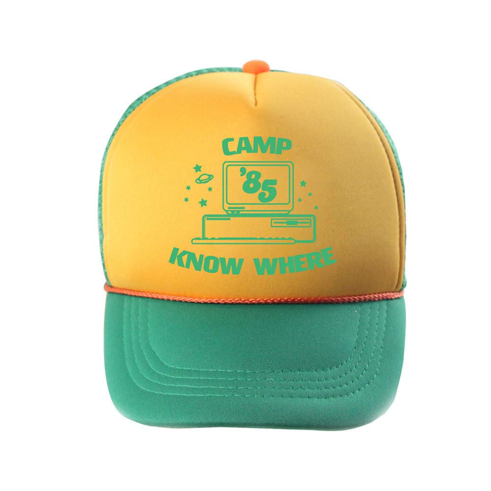 ad950806bb529 Amazon.com: Stranger Things Dustin Hat Adult Kids Camp Know Where Baseball Cap  Adjustable Green and Yellow: Clothing