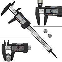 """AWinEur 150mm 0-6"""" Electronic LCD Digital Vernier Caliper Plastic Caliper Gauge Micrometer Ruler Carbon Fiber Measuring Tool Inch/Metric/Fraction Conversion"""