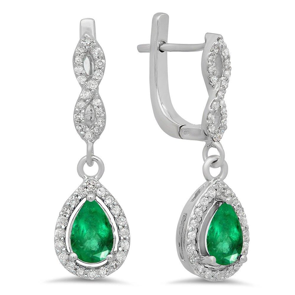 18K White Gold 7X5 MM Each Pear Lab Created Emerald & Round Diamond Ladies Drop Earrings