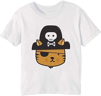 Pirata Gato - Asustadizo Icono Serie Niños Unisexo Niño Niña Camiseta Cuello Redondo Blanco Manga Corta Tamaño 2XS Kids Boys Girls White XX-Small Size 2XS: Amazon.es: Ropa y accesorios