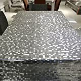 LEEVAN Heavy Weight Transparent Vinyl Rectangle Table Cover Wipe Clean PVC Tablecloth Oil-proof/Waterproof Stain-resistant/Mildew-proof - 54 x 78 Inch (Crystal Mosaic)