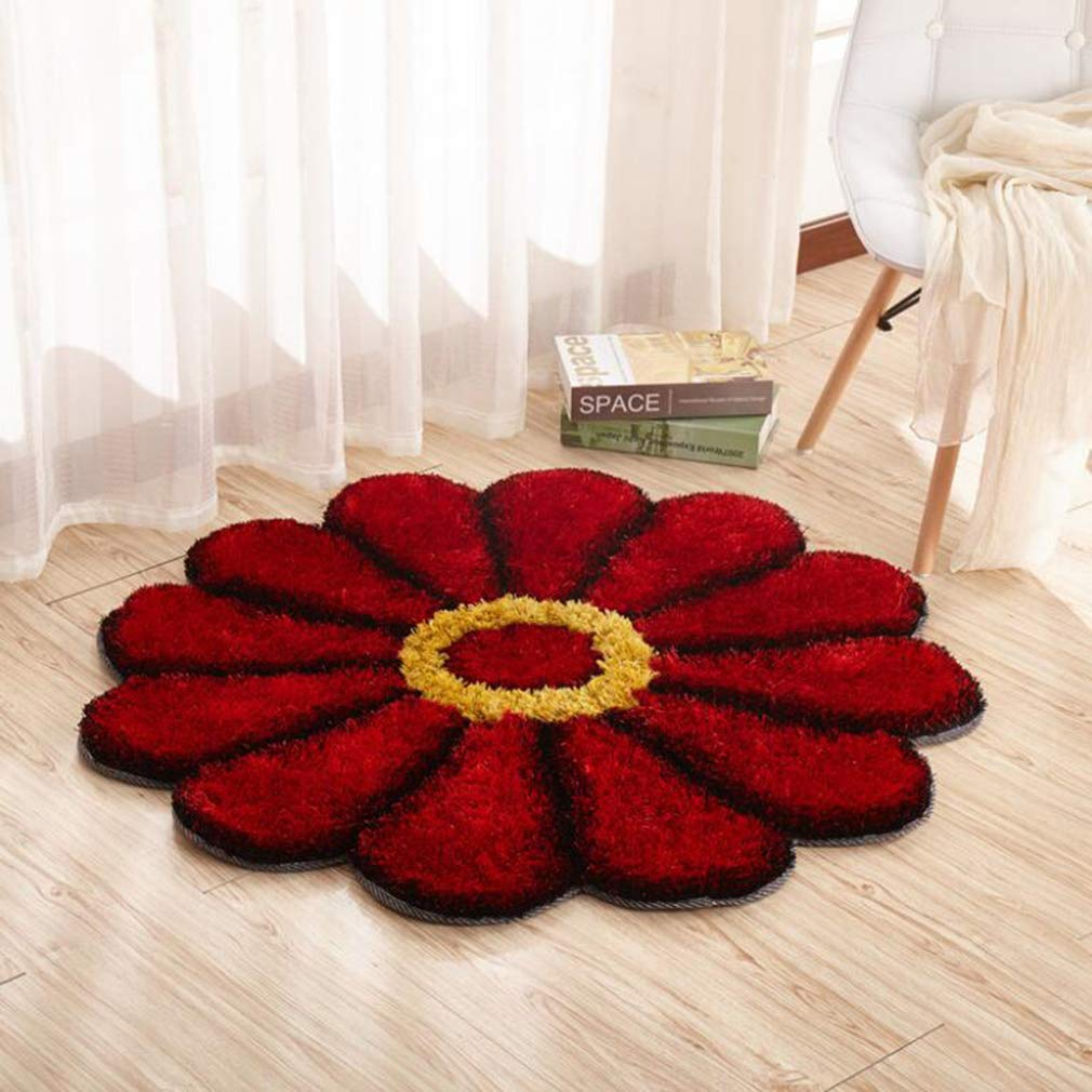 Runder Blumenteppich 3D Sonnenblume Shaggy Bodenmatten Für Wohnzimmer Schlafcouch Tisch Rutschfeste Flächenteppiche,ROT,Diameter120cm