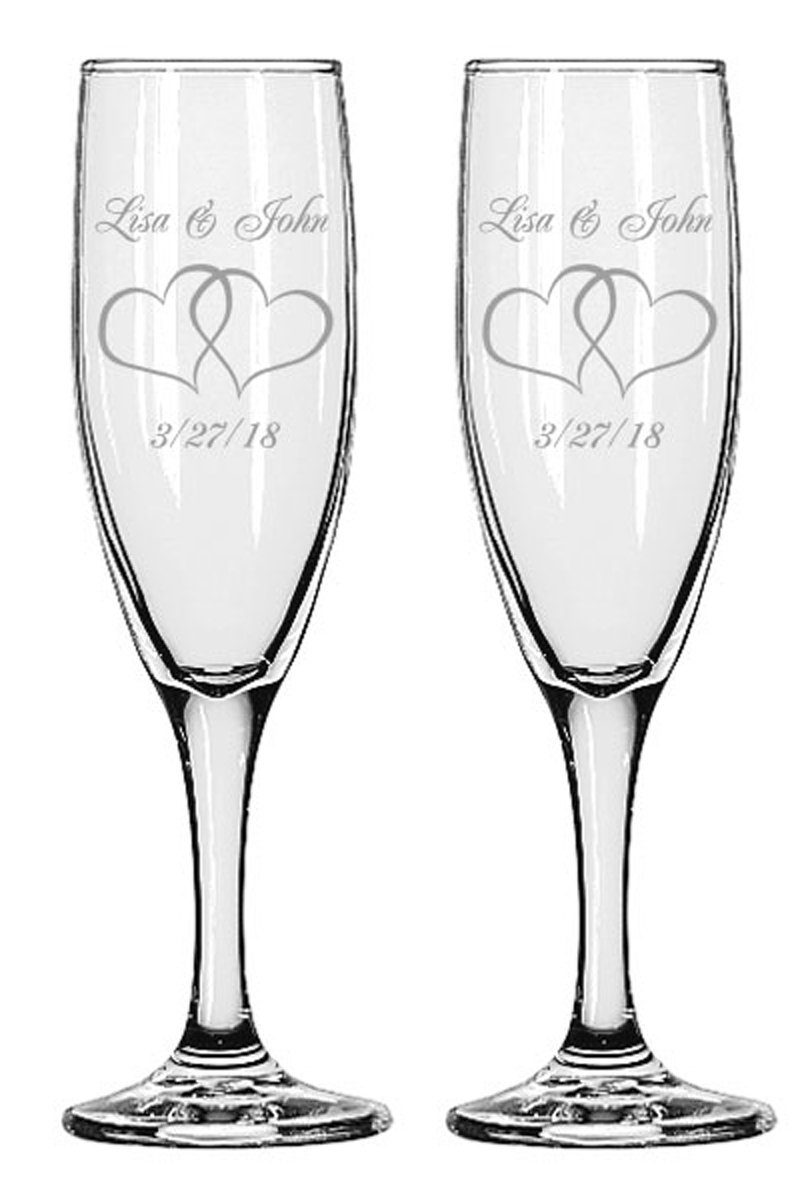 Gifts Infinity 2 Engraved Wedding Interlock Hearts Champagne Flutes Personalized Toasting Glasses