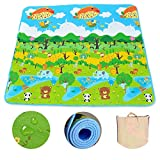 [US Stock] Children Non-slip Waterproof Carpet Kids Rugs Portable Cartoon Animal Baby Game Pad Crawling Mats for Indoor and Outdoor (79x71 inch) (Green)