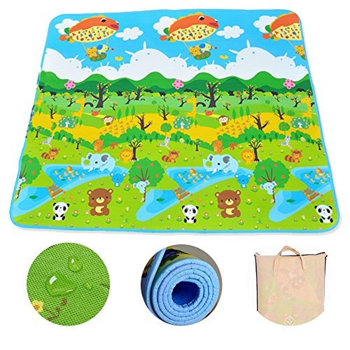 [US Stock] Children Non-slip Waterproof Carpet Kids Rugs Portable Cartoon Animal Baby Game Pad Crawling Mats for Indoor and Outdoor (79x71 inch) (Green) by Viedoct