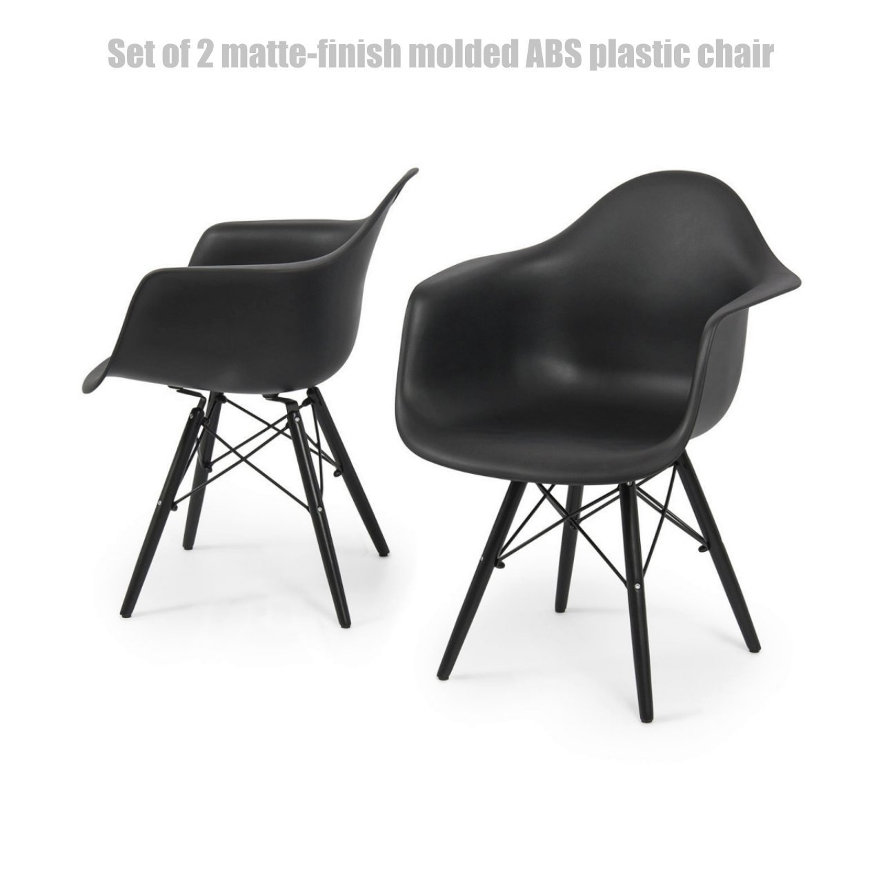 Modern Dining Chair Molded ABS Plastic Dowel Black Wooden Legs Posture Support Backrest Design Innovative Side Chair - Set of 2 Black #1442 by Koonlert@Shop (Image #7)