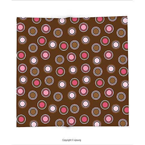 Custom printed Throw Blanket with Vintage Nostalgic Polka Dots with Large Retro Old Fashion Rounds Trendy Pretty Graphic Pink Brown Super soft and Cozy Fleece Blanket
