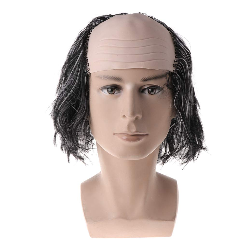 Halloween Black//White Wigs Bald Hair Masquerade Costume Party Funny Cosplay Prop