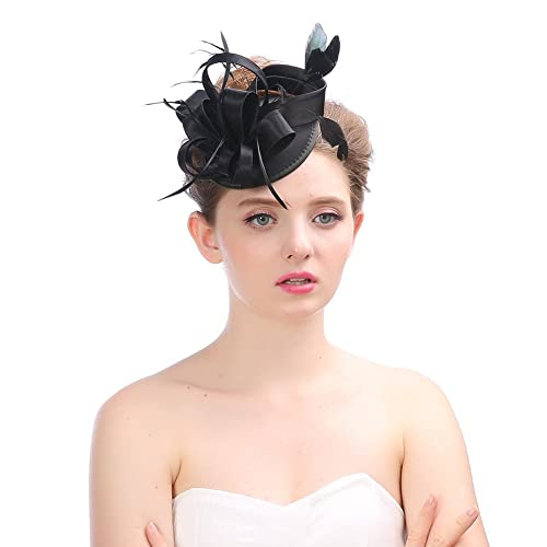 Amazon.com  Women s Vintage Flower Fascinators Hat Hair Clip Feather Wedding  Headware Bridal for Wedding Church Cocktail Party Headdress Black  Shoes 0cb2fb885c8