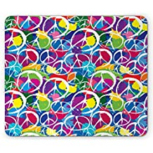 Retro Mouse Pad by Ambesonne, Universal Peace Sign Symbol on Colorful Pop Art Style Background Pacifist Activism, Standard Size Rectangle Non-Slip Rubber Mousepad, Multicolor