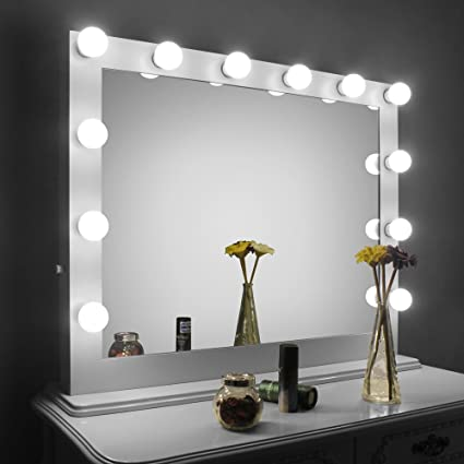 HOMELO White Large Hollywood Makeup Mirror With Light Vanity Mirror With  Dimmer, Dressing LED Illuminated