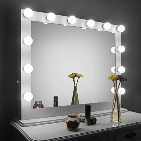 Amazon aoleen white large hollywood makeup mirror with light aoleen white large hollywood makeup mirror with light vanity mirror with dimmer dressing led illuminated mozeypictures Image collections
