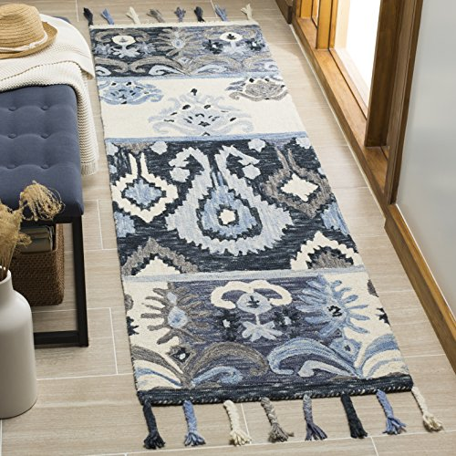 Safavieh Suzani Collection SZN208A Hand-Hooked Blue and Ivory Wool Runner (2'3