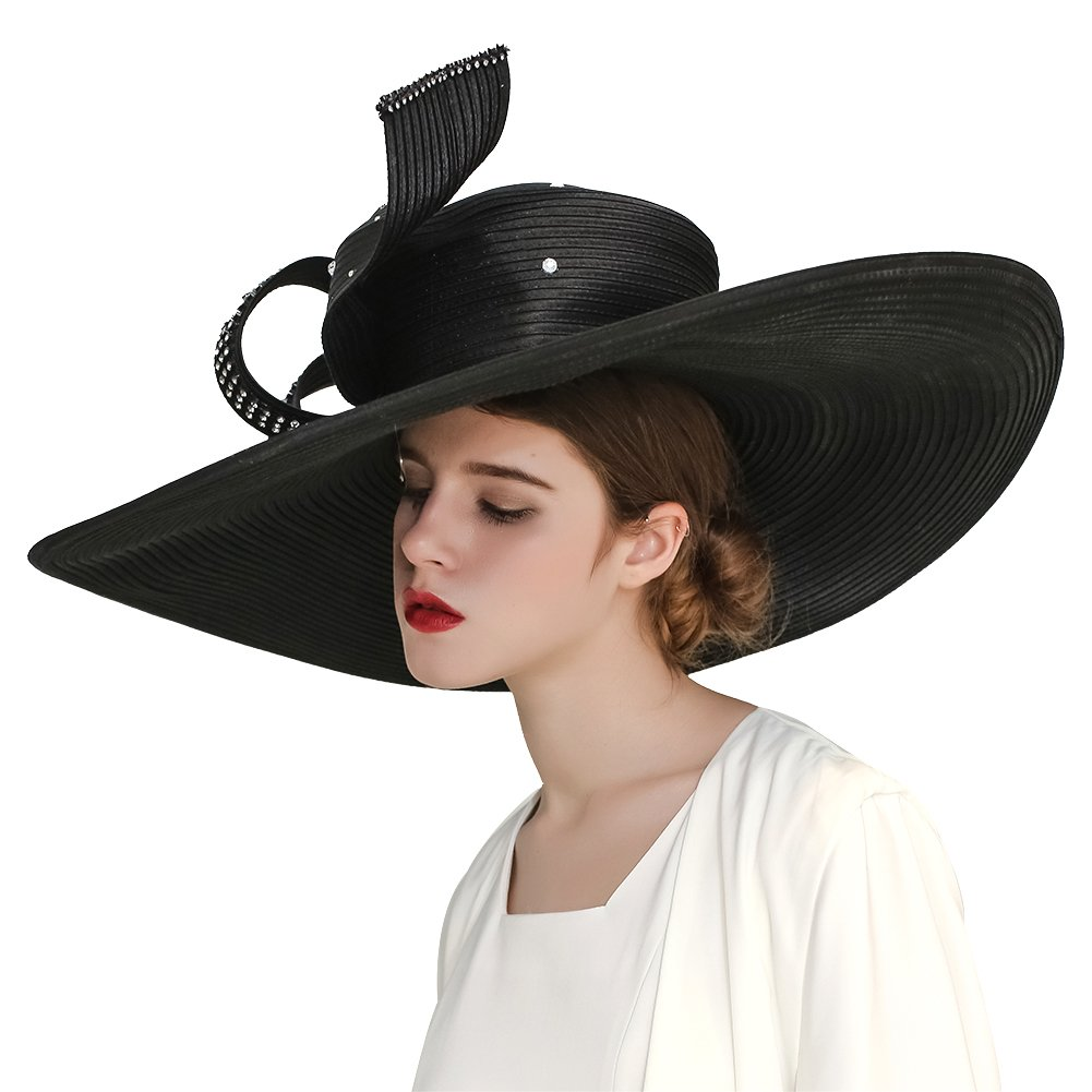141c83d3053 Kueeni Women Hats Hot Red Color Church Hats Lady Party Wear Fedoras Hats  (Black) at Amazon Women s Clothing store