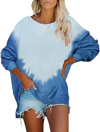Womens Pullover Dress Sweatshirt Tie Dye Oversized Tunic Chic Tops Loose Jumper