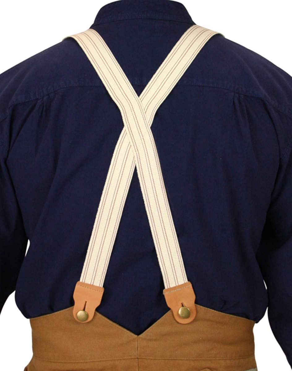 Men's Vintage Style Suspenders Historical Emporium Mens 1860 Cotton X-Back Suspenders $29.95 AT vintagedancer.com