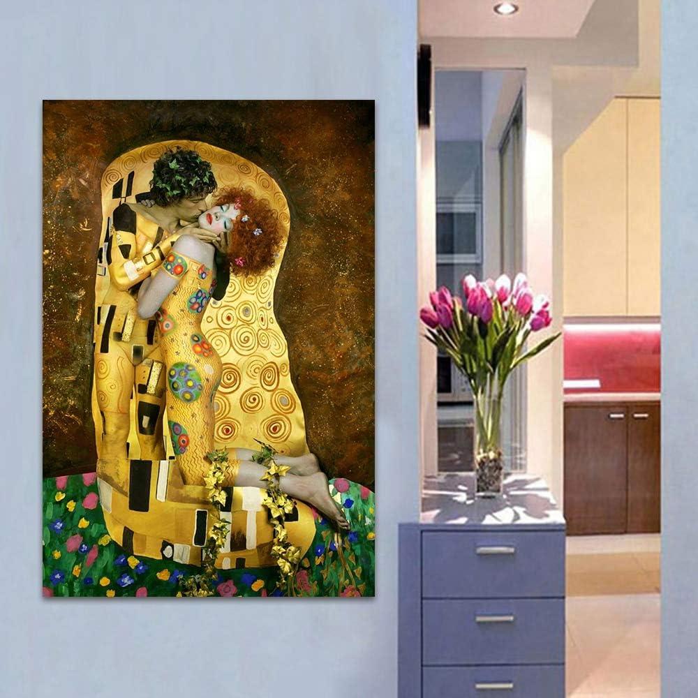 XWArtpic Gustav Klimt Kuss Leinwand /Ölgem/älde Auf Der Wand Replik Ber/ühmte Malerei F/ür Wohnzimmer Abbildung Poster Drucke 30 45 cm