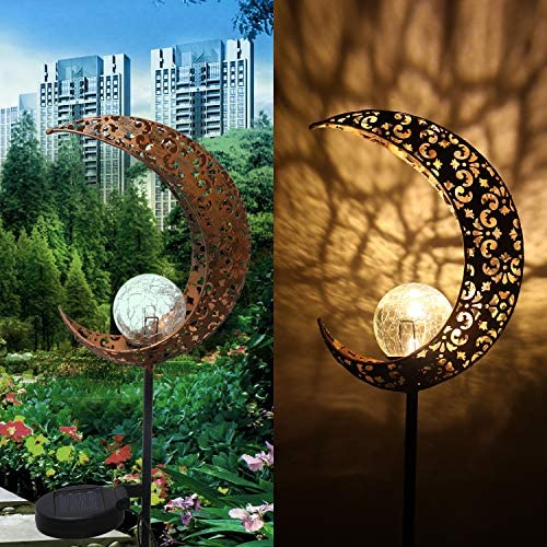 Solar Lights Outdoor Garden Decor – Garden Solar Lights Moon Lamp for Patio Pathway Lawn Yard Decorations Warm White