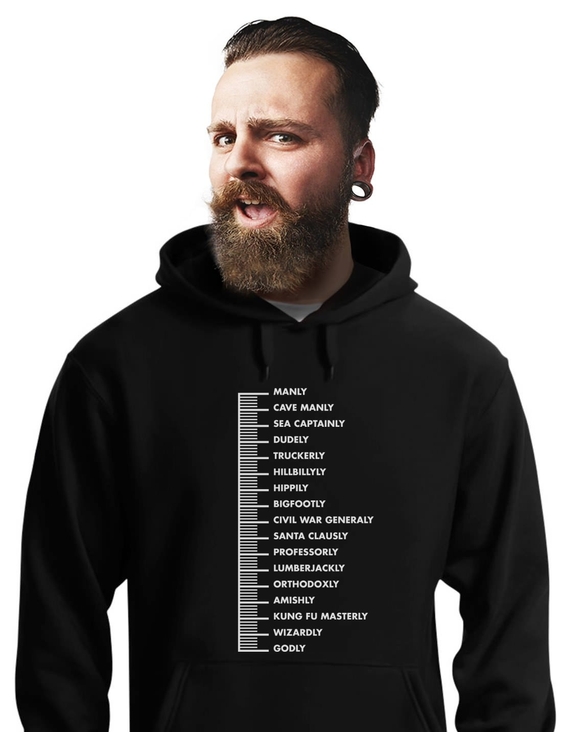 Gift For Bearded Men - Beard Scale Men's Hoodie XX-Large Black