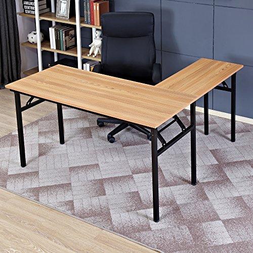 Need 55'' x 55'' L-Shaped Folding Computer Desk, One-Step Assembly, L Desk Home Office Desk Workstation Desk, Teak AC11BB by Need (Image #8)