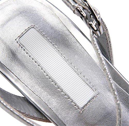 YEEY Punto de verano punta de aguja sandalias de tobillo correa zapatos de corte para las mujeres club fiesta zapatos espumosos de la boda Silver