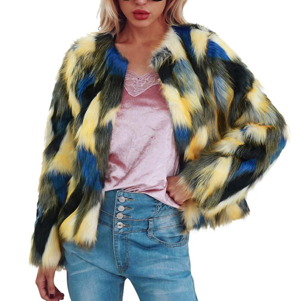 Yellow Womens Ladies Faux Fur Winter Gradient color Short Coat