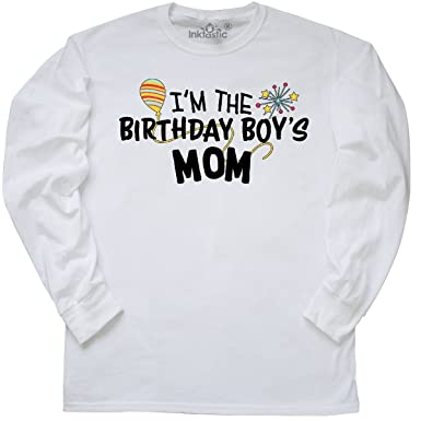5a7be20f inktastic - I'm The Birthday Boy's Mom Long Sleeve T-Shirt Small White