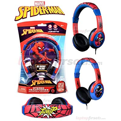Marvel Spiderman Stereo Wired Headphones Headset Adjustable Earphone by Volcano: Toys & Games