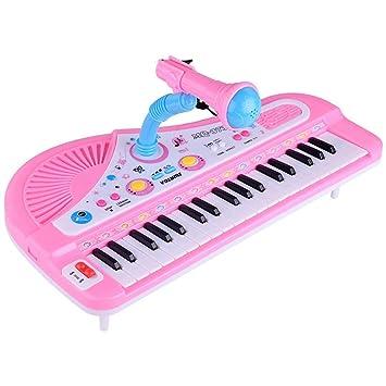 leegoal Piano Teclado Juguete, Lindo 37 Teclas Multifuncional Musical electrónico Piano de Juguete con micrófono cumpleaños para niños Rosa: Amazon.es: ...
