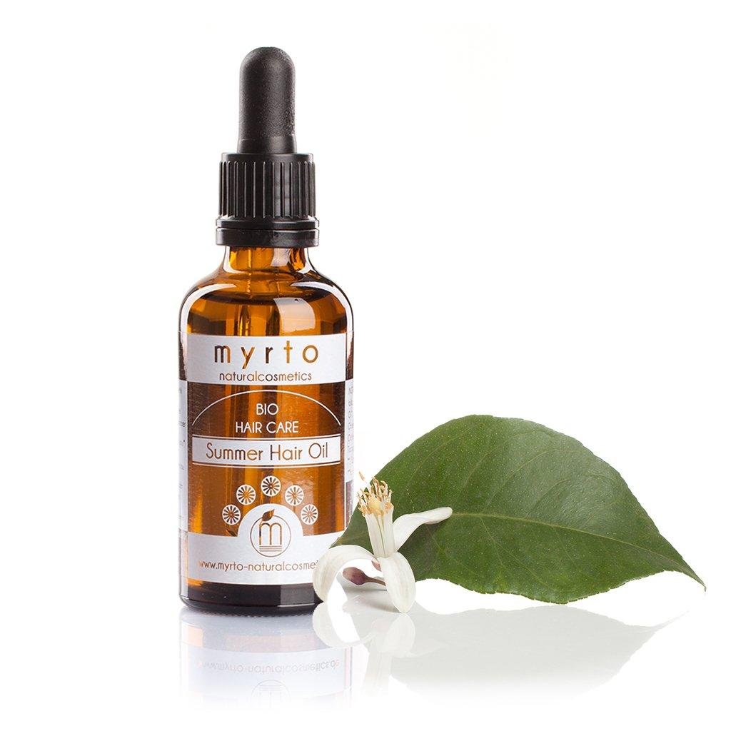 myrto-naturalcosmetics - Bio Summer Hair Oil | Repair Haaröl mit natürlichem Sonnenschutz ✔ kaltgepresste Pflanzenöle ✔ Haarkur gegen Spliss und Haarbruch ✔ handgefertigt ✔– 50 ml