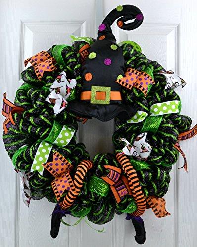 Halloween Witch Wreath | Hat Legs Halloween Front Door Mesh Welcome Wreath; Lime Green Black -