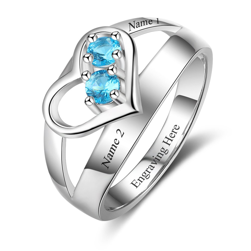 Love Jewelry Personalized Mother Daughter Rings with 2 Silmulated Birthstones Promise Rings For Women Mother Day Rings (8)