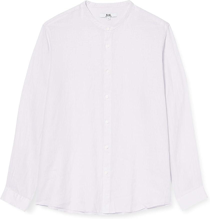 Marca Amazon - find. Camisa de Lino de Manga Larga Hombre