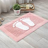 USIX Indoor Machine Washable Hotel-Spa Tub-Shower Bath Towel Mat Cute Small Feet Chenille Shag Area Rug Living Room Carpet Bedroom Rug Floor Mat Dining Room Carpets Pink 45cm x 70cm