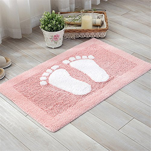 USIX Indoor Machine Washable Hotel-Spa Tub-Shower Bath Towel Mat Cute Small Feet Chenille Shag Area Rug Living Room Carpet Bedroom Rug Floor Mat Dining Room Carpets Pink 45cm x 70cm by USIX