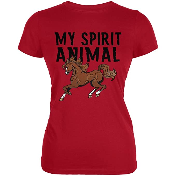 71d84c7b4 Amazon.com: My Spirit Animal Horse Red Juniors Soft T-Shirt: Clothing