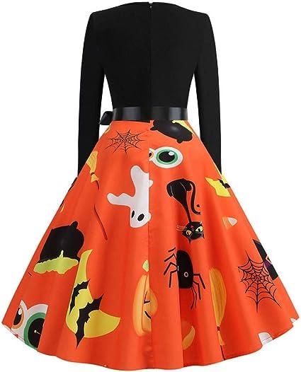 TOFOTL damska sukienka wieczorowa sukienka odświętna sukienka składana prosta modna piękna okrągły dekolt długie rękawy nadruk Halloween sukienka studyjna Halloween festiwal kostium: Od