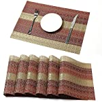 HEBE Washable Placemats for Dining Table Heat Resistant Kitchen Table Placemats Set of 6 Crossweave Woven Vinyl Place Mats Easy to Clean