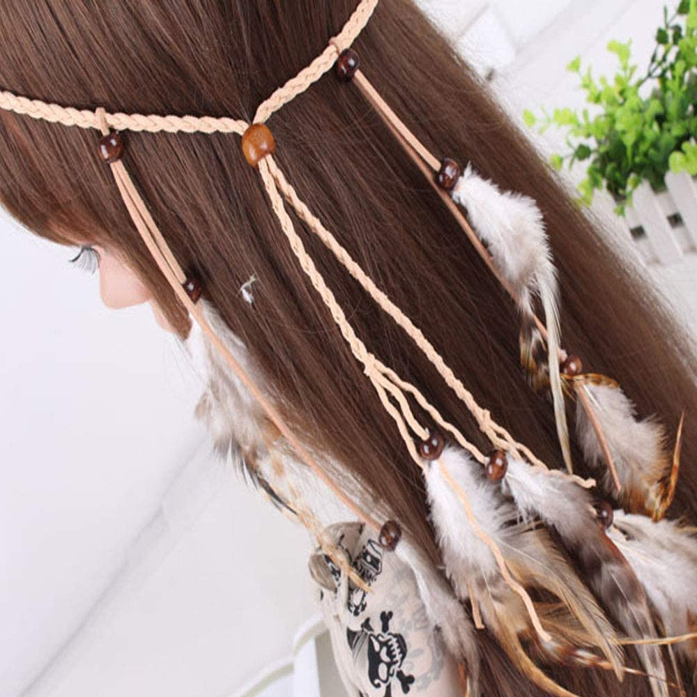 Feather Headband Hippie Headpieces Tassel Braided Feather Ladies Headbands Indian Headdress Feather Headdress Women Festival Carnival Boho Hair Accessories for prom parties or cosplay