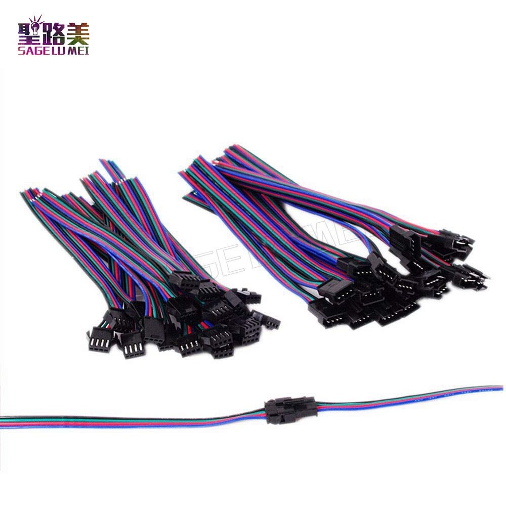 Gimax 50 Pairs/set for 5050/3528 RGB LED Strip Light Tape Ribbon 4 Pin JST SM Connector Male to Female 4pins Plug Connector Cable wire