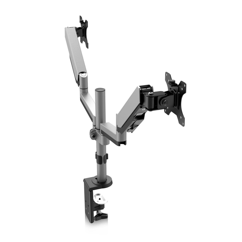 , 100 x 100 mm, Argent 81,3 cm Pince, 8 kg, 43,2 cm Supports d/écrans Plats pour Bureau 17 32 V7 Support de Moniteur de r/églage du Double /écran Tactile