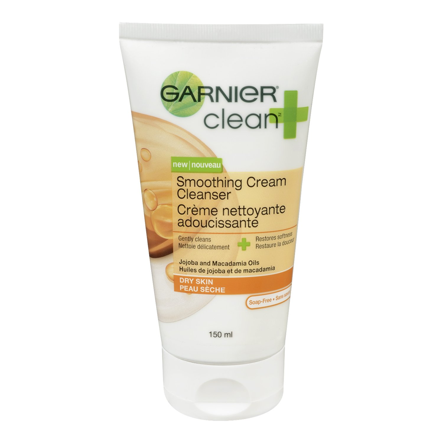 Garnier Clean+ Smoothing Cream Cleanser For Dry Skin, 5 Fluid ounces